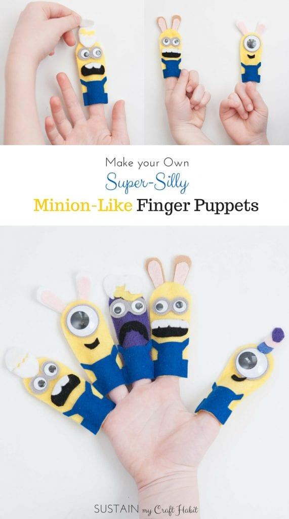 No-sew DIY minions finger puppets including printable template. Make them all as a fun gift idea for the kids for Easter or as Halloween crafts. The step-by-step tutorial is included along with the pattern for five different minions. - SustainMyCraftHabit