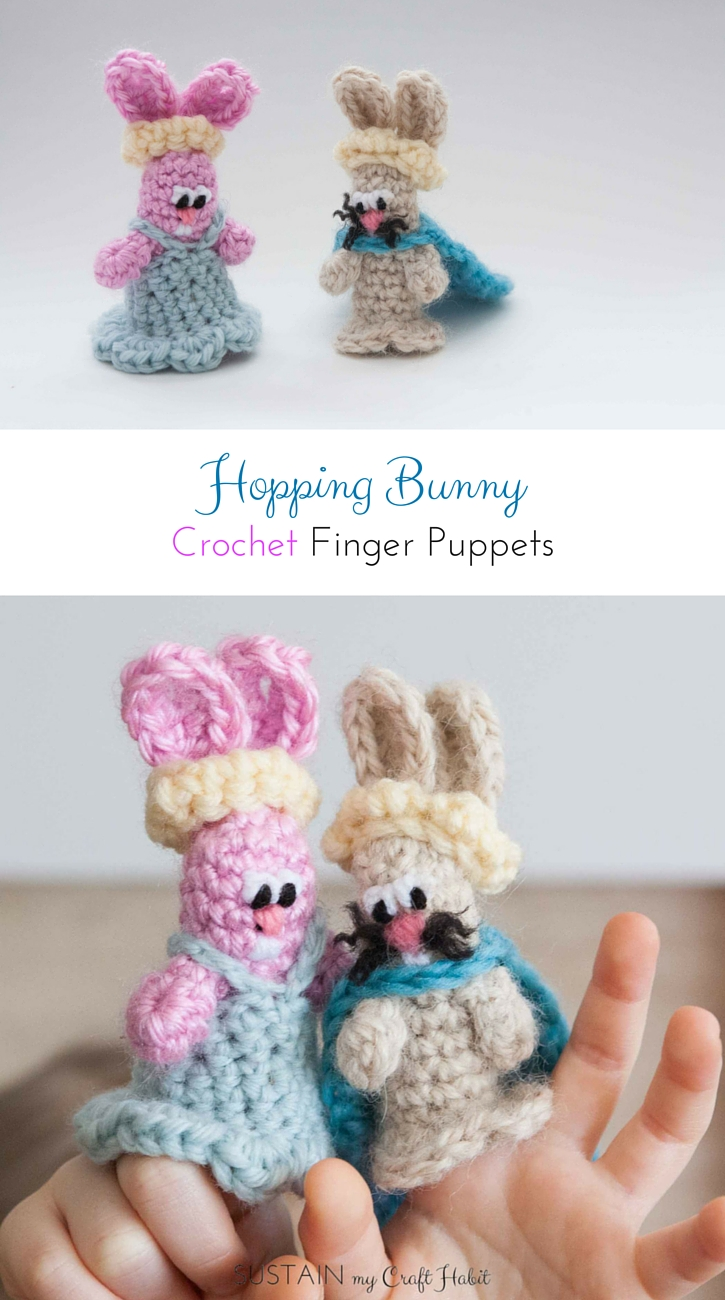 Crochet bunny finger pattern. Adorable handmade toy idea.