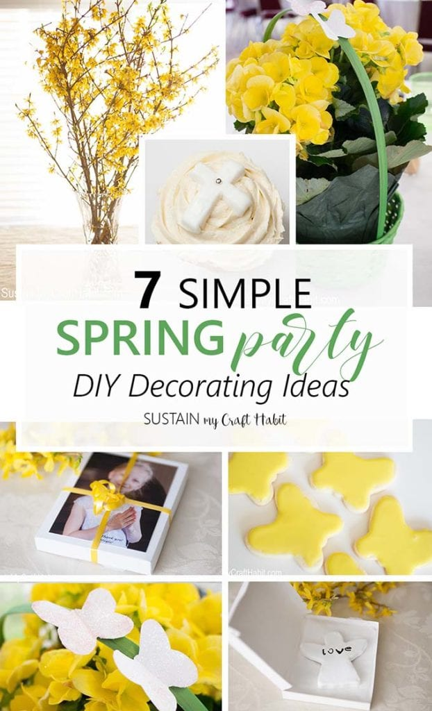 Collage of DIY spring party decorating ideas including centerpieces, favors, cookies and decor