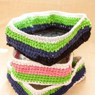 Organize your Laundry Room: Rectangular Basket Crochet Pattern Using T-Shirt Yarn