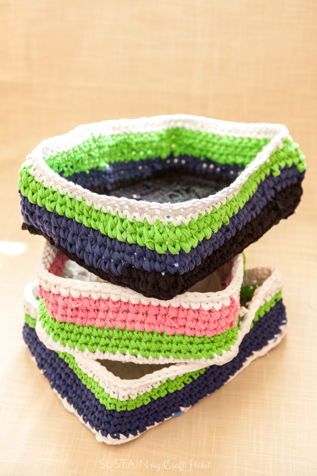 Organize Your Laundry Room Rectangular Basket Crochet Pattern Using