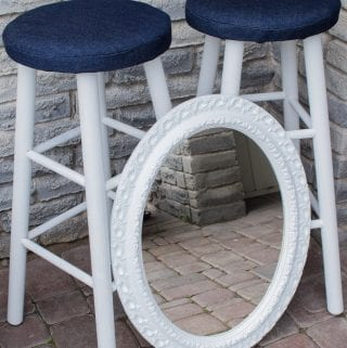 Transforming Yard Sale Finds: Upcycled Mirror and Bar Stools