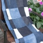With summer upon us and spending lots of time outdoors, a picnic blanket was much needed.See how I made this denim blanket from old jeans! #sustainmycrafthabit #diydenimcrafts #picnicblanket #denimblanket | How to make a Picnic Blanket | Denim Blanket Ideas | DIY Denim Crafts | Upcycle Old Jeans Ideas |