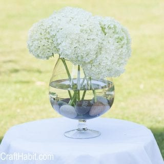 DIY Inscribed Beach Stone Wedding Centerpiece