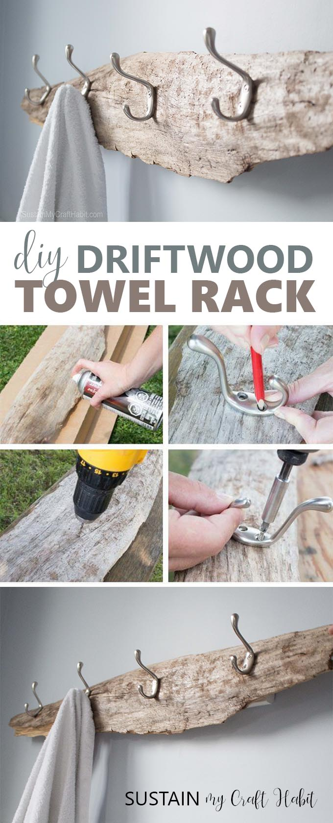 Rustic DIY towel rack made with driftwood