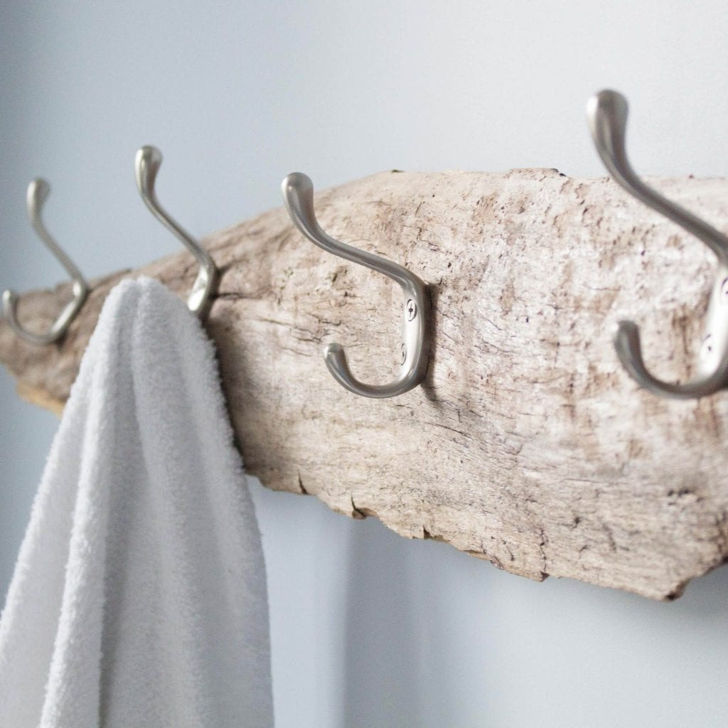 Rustic wall mounted towel rack made from driftwood