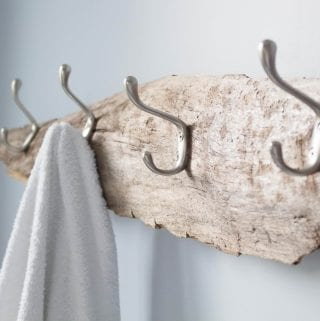 Rustic wall mounted coat rack made from driftwood