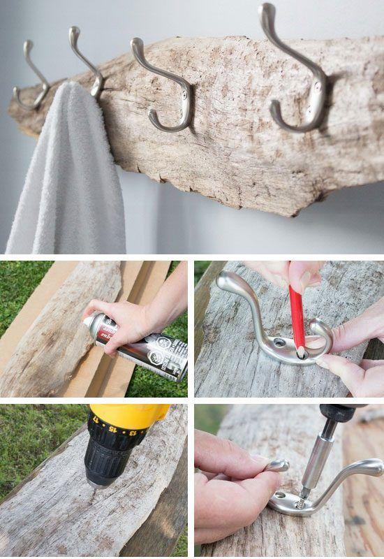 diy towel rack with driftwood