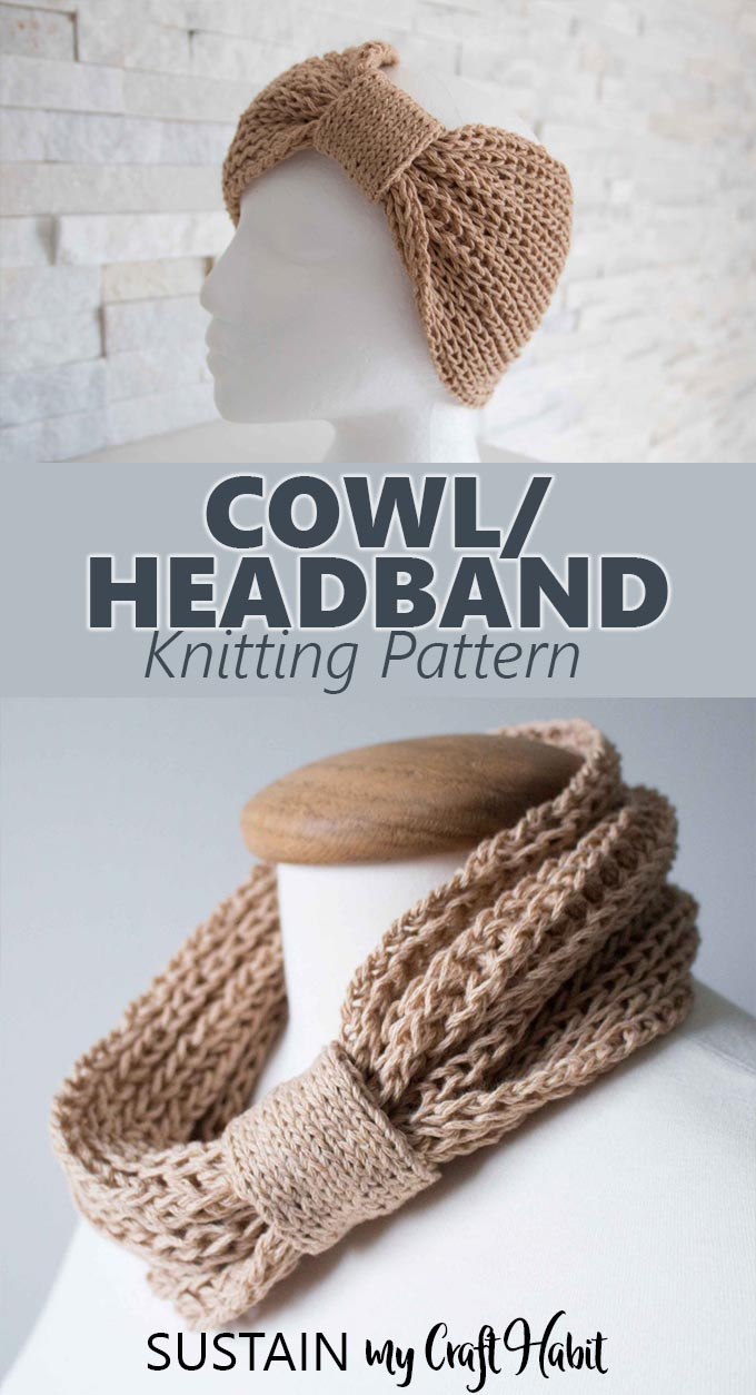 This easy cowl knitting pattern creates both a neck warmer and headband in one! Knit cowl pattern. #knitting #knittedcowl #knitcowl #knittingpattern #knittedheadband #cowl #handmade