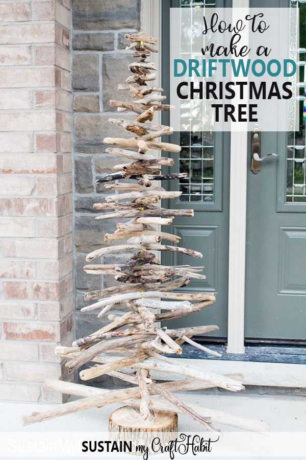 Great tutorial for how to make a driftwood Christmas tree. Love this unique eco-friendly DIY Christmas tree option for the holidays and year-round! DIY Driftwood Christmas Tree | Porch tree with driftwood | Coastal Christmas decor. #driftwood #driftwoodtree #coastalchristmas #diy #driftwoodbranches #sustainmycrafthabit #coastal #christmasdecor #eco #greencrafts