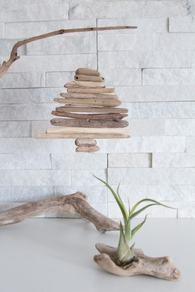 DIY mini driftwood Christmas tree ornament
