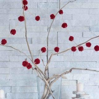 DIY Mini Red Pom Pom Garland