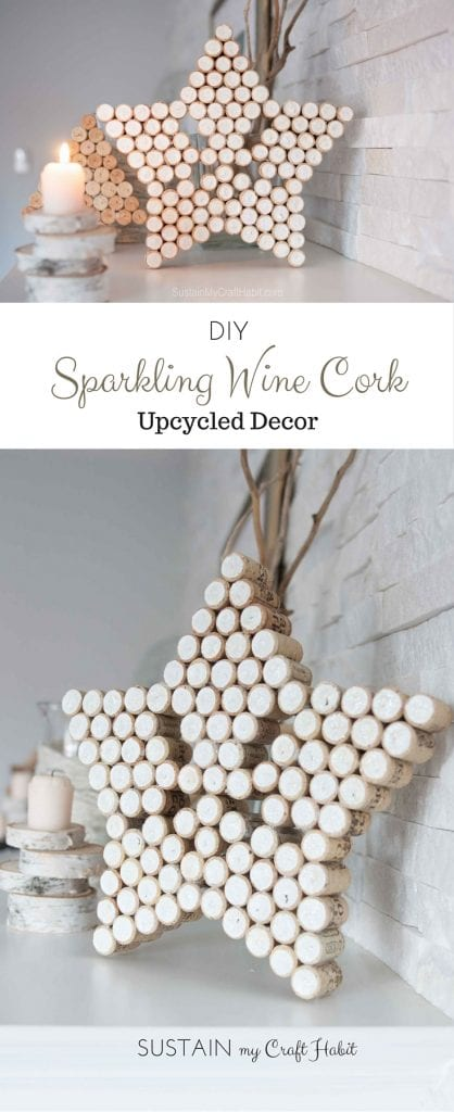 A collage of wine cork crafts ideas including a wine cork star with glitter