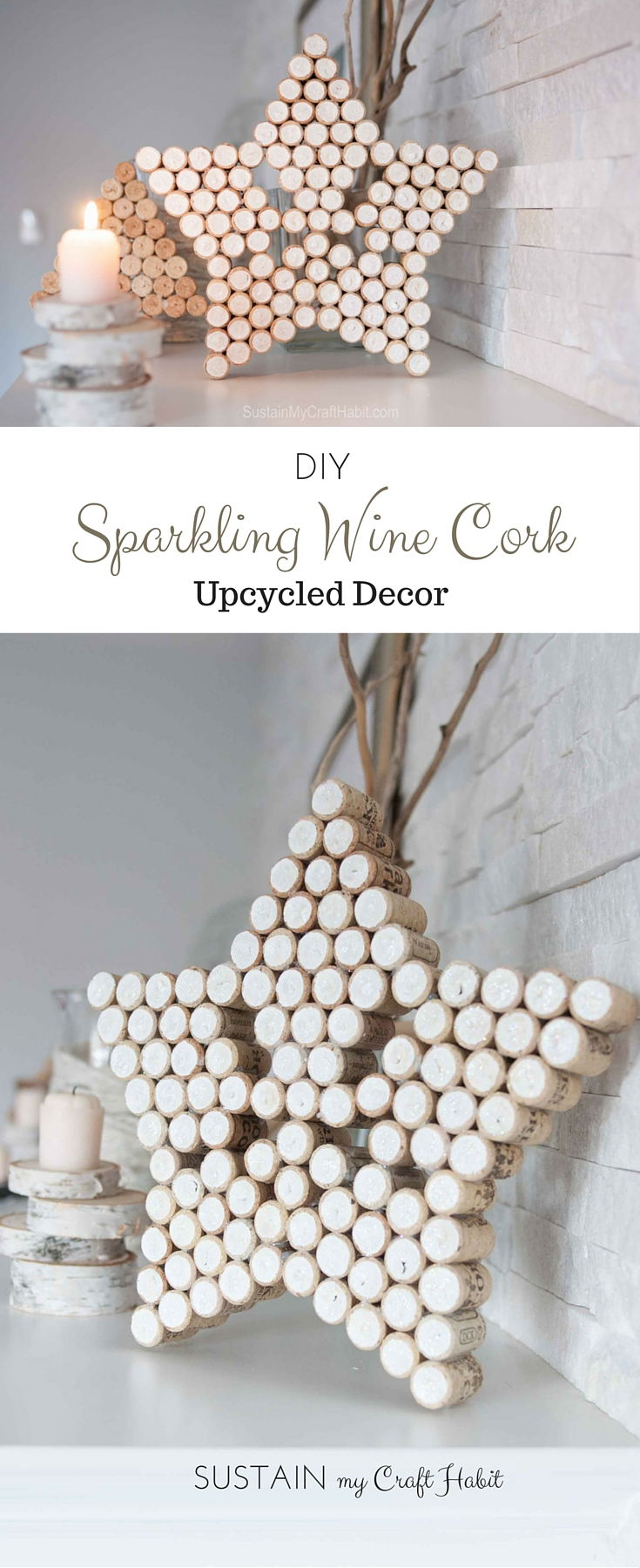 Wine cork crafts! How to make a sparkling star with wine corks. Add a little paint and glitter for a beautiful Christmas or year-round decor. Fun #winecorkcrafts idea! Elegant #crafts with wine corks.