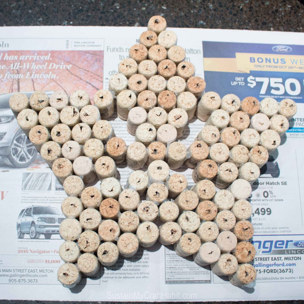 Wine corks grouped together to form the large star