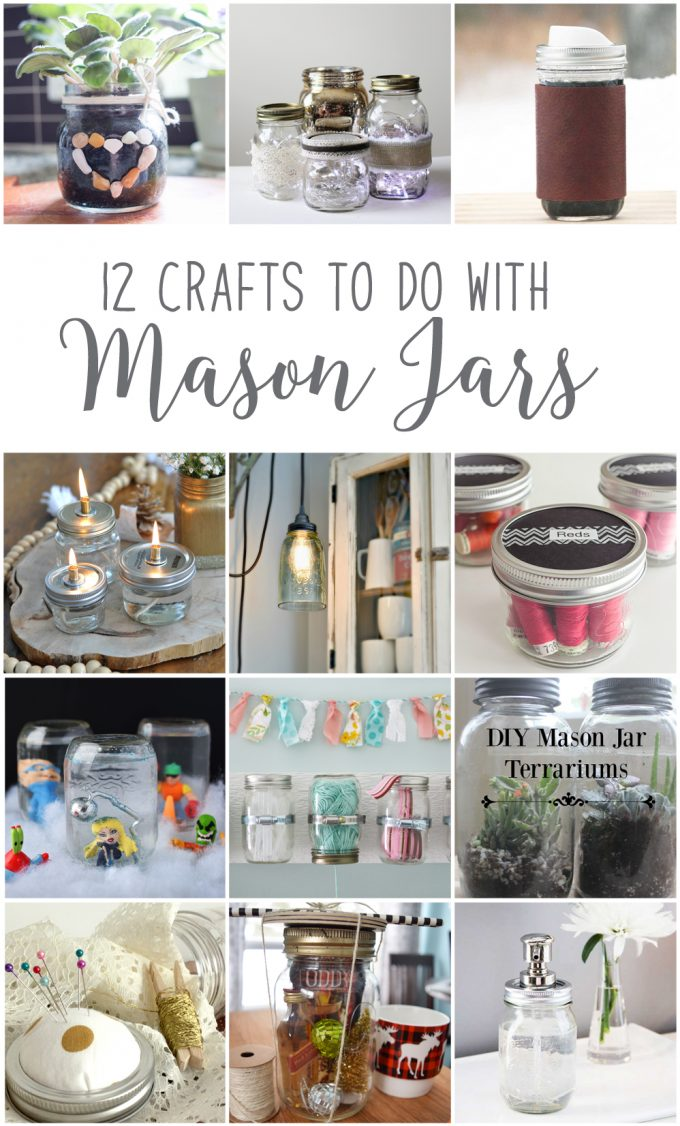 Collage of 12 crafts for make with Mason jars