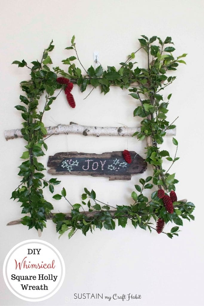 DIY square holly wreath | Whimsical winter decor idea