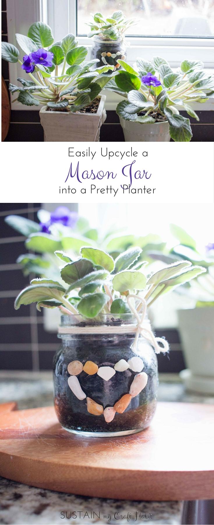 African violets growing healthy in a DIY mason jar planter on a window sill