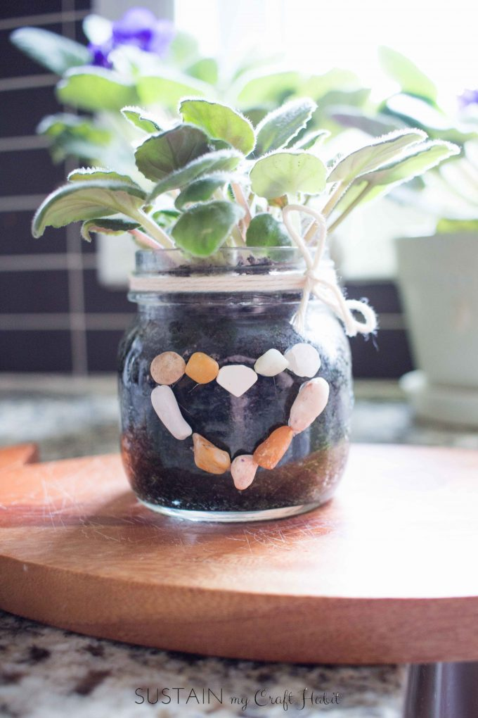Mason jar crafts | African violet planter