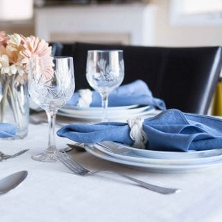 DIY Linen Napkins and Nautical Cable Napkin Rings