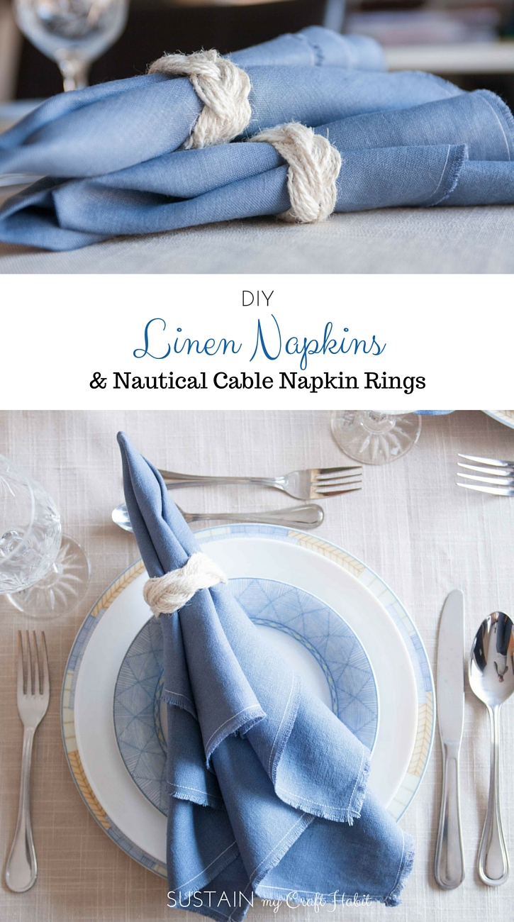 DIY Irish linen napkins with a frayed hem finish and nautical-inspired sailor-cable napkin rings. A step-by-step tutorial is included as well as a video for making the napkin rings. These would be perfect for any coastal or nautical themed event such as a dinner party, wedding reception or shower. Click through for all the details as well as links to 11 other crafts you can make with 1 yard of fabric.