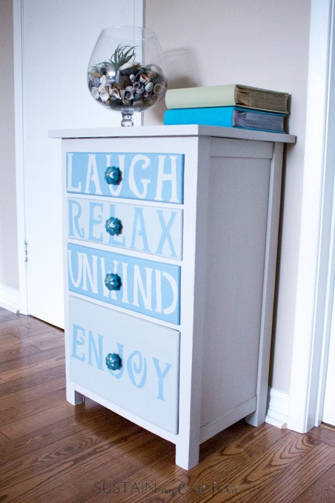 A Dresser Found At Farmhouse Yardsale Is Upcycled Into Coastal Inspired Furniture Piece
