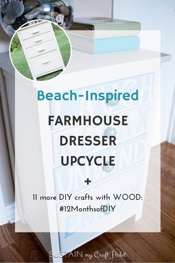 A dresser found at a farmhouse yardsale is upcycled into a coastal-inspired furniture piece for the cottage. Click through for the step-by-step tutorial for this DIY home decor project using Fusion Mineral Paints.