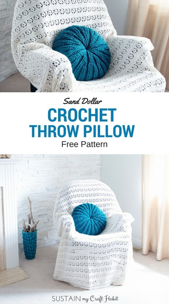 Collage of images showing the completed free crochet pillow pattern with a sand dollar design
