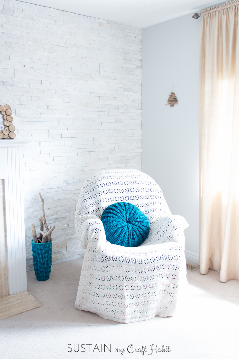 "Pick up the free crochet pillow cover pattern for this coastal-inspired ""Sand Dollar Throw Pillow"", a perfect way to freshen up your spring-time living room decor."