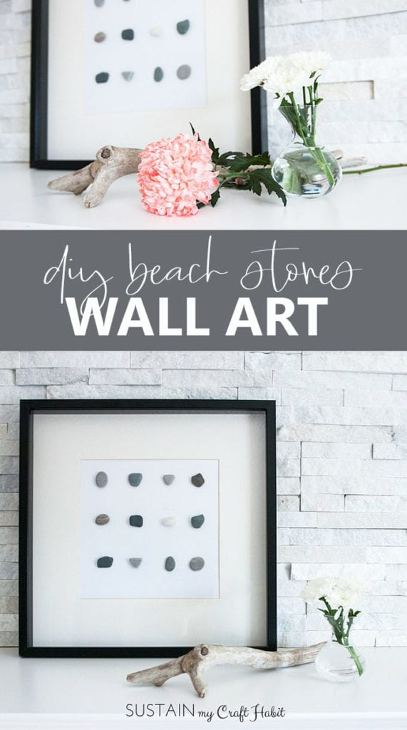 Cheap DIY wall decor ideas with beach stones and an upcycled photo frame