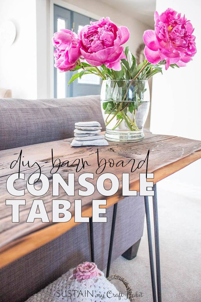 Learn how to make your own one-of-a-kind DIY console table with hairpin legs and a stained barn board surface.