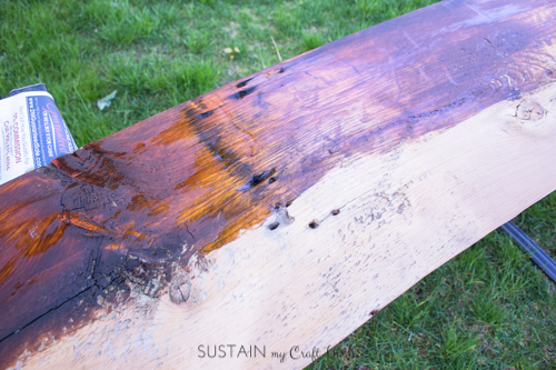 Staining a piece of barn wood with MINWAX polyurethane stain and sealer