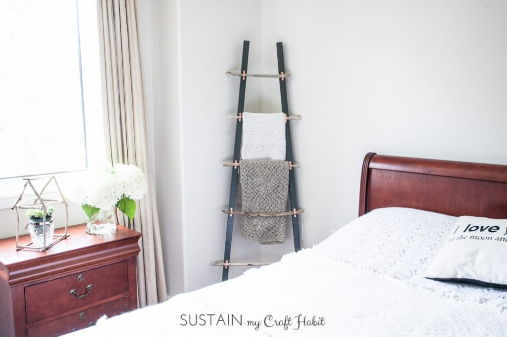 How To Make A Diy Rustic Coastal Blanket Ladder With Driftwood The Graystone Beach Sustain My Craft Habit
