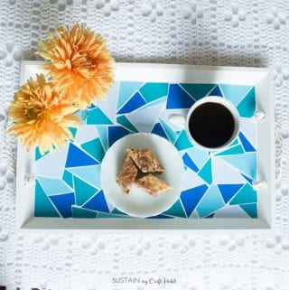 DIY Upcycled Faux Geometric Mosaic Tile Serving Tray using Vinyl