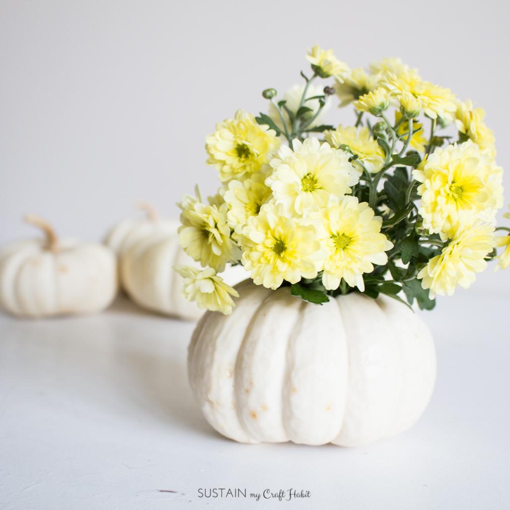 Fall Decor Idea: A DIY Mini Pumpkin Floral Vase – Sustain My Craft Habit