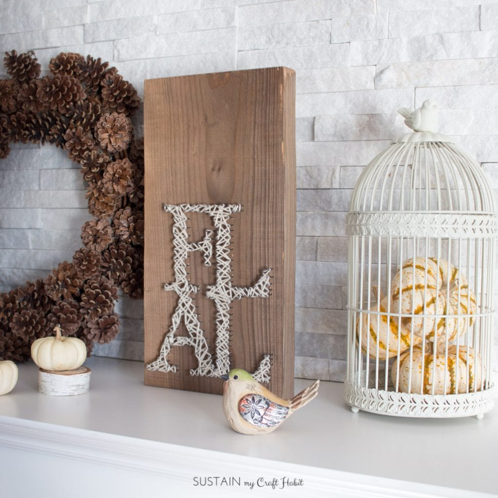 Rustic barn wood fall string art