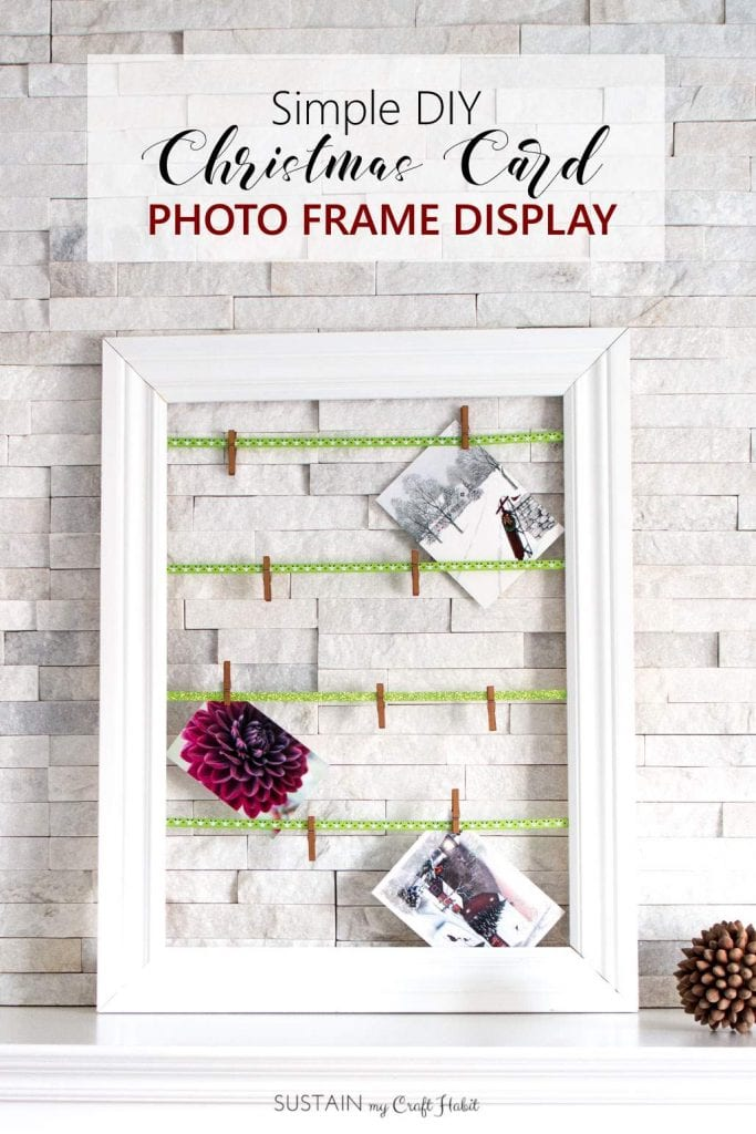 Simple DIY photo display | Easy DIY Christmas card display frame | Scrap wood note card display #photodisplay #upcycled #christmascards