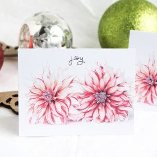 Free Printable DIY Christmas Cards: Floral Joy
