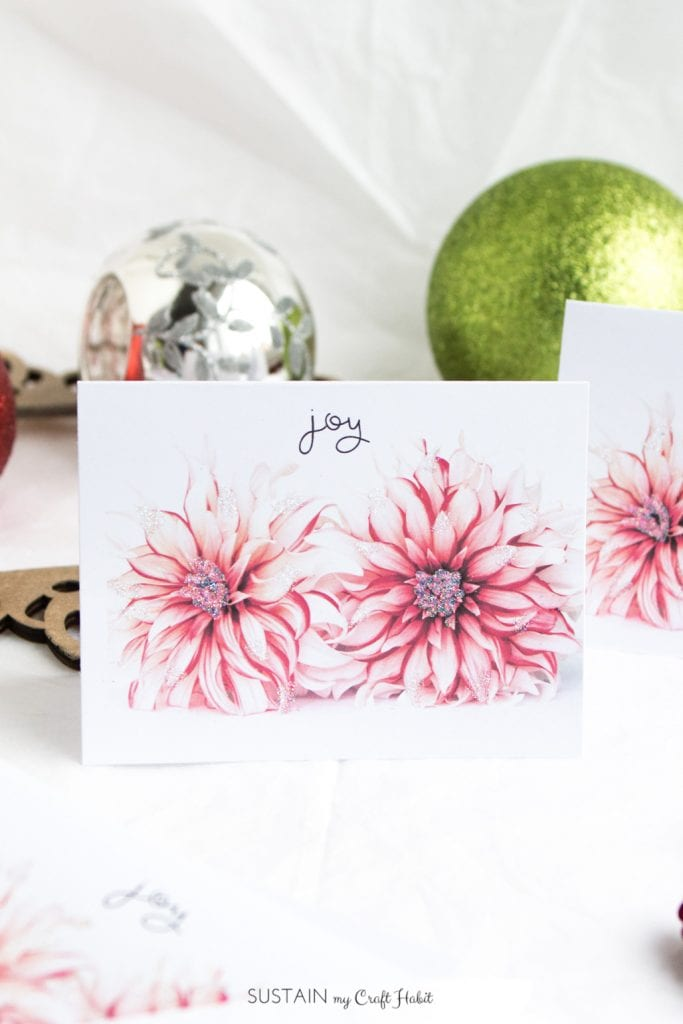 Free printable Christmas cards | Holiday greeting cards | Dahlia cards
