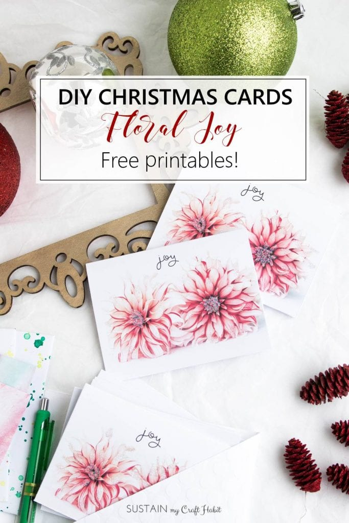 Free Printable DIY Christmas Cards: Floral Joy – Sustain My Craft Habit
