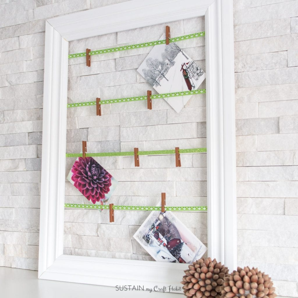Simple DIY photo display | Easy DIY Christmas card display frame | Scrap wood note card display