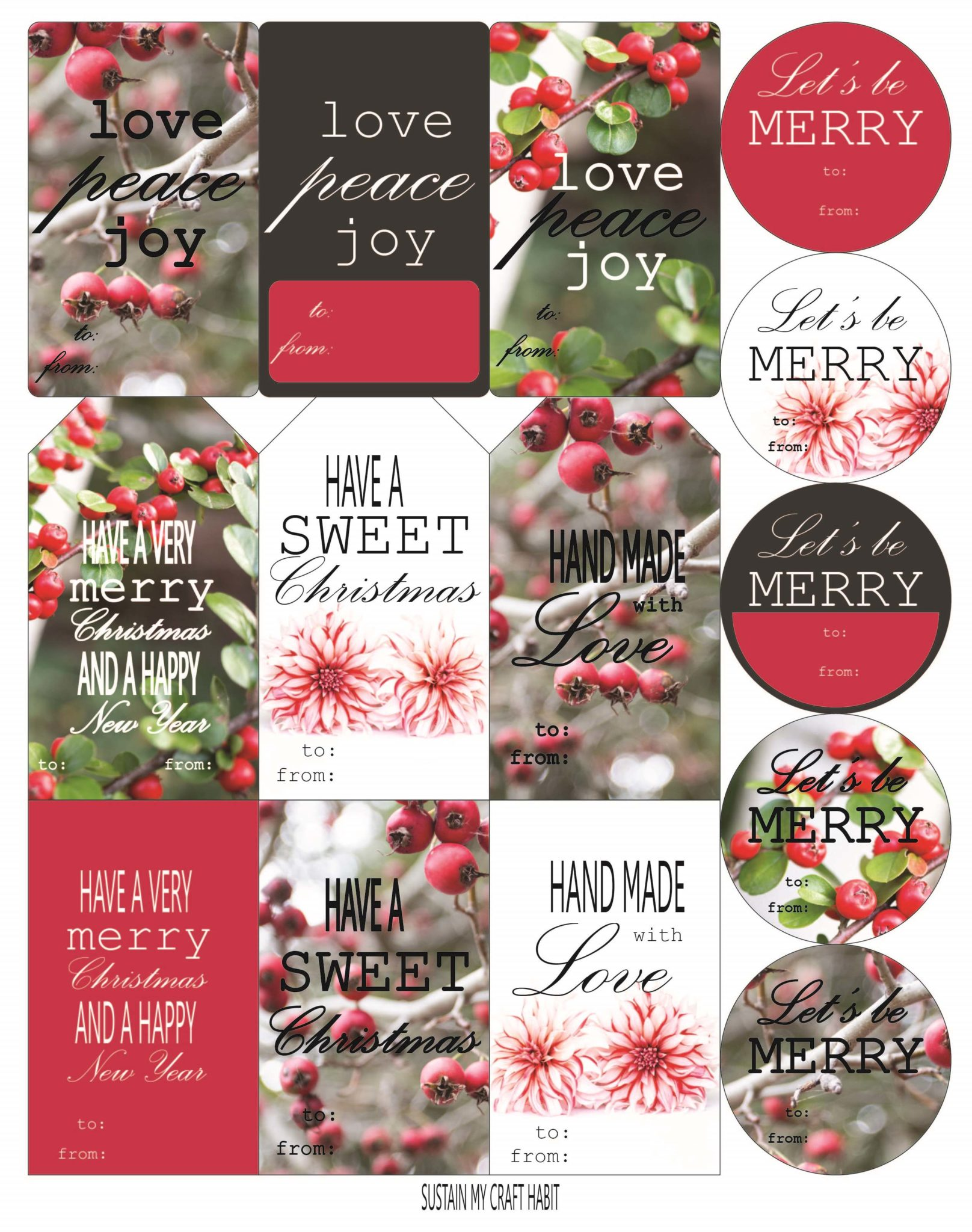 free nature inspired printable christmas gift tags sustain my