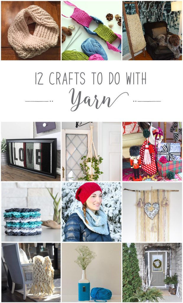 Collage of 12 crafts to make using yarn from crochet, knitting, macrame and more