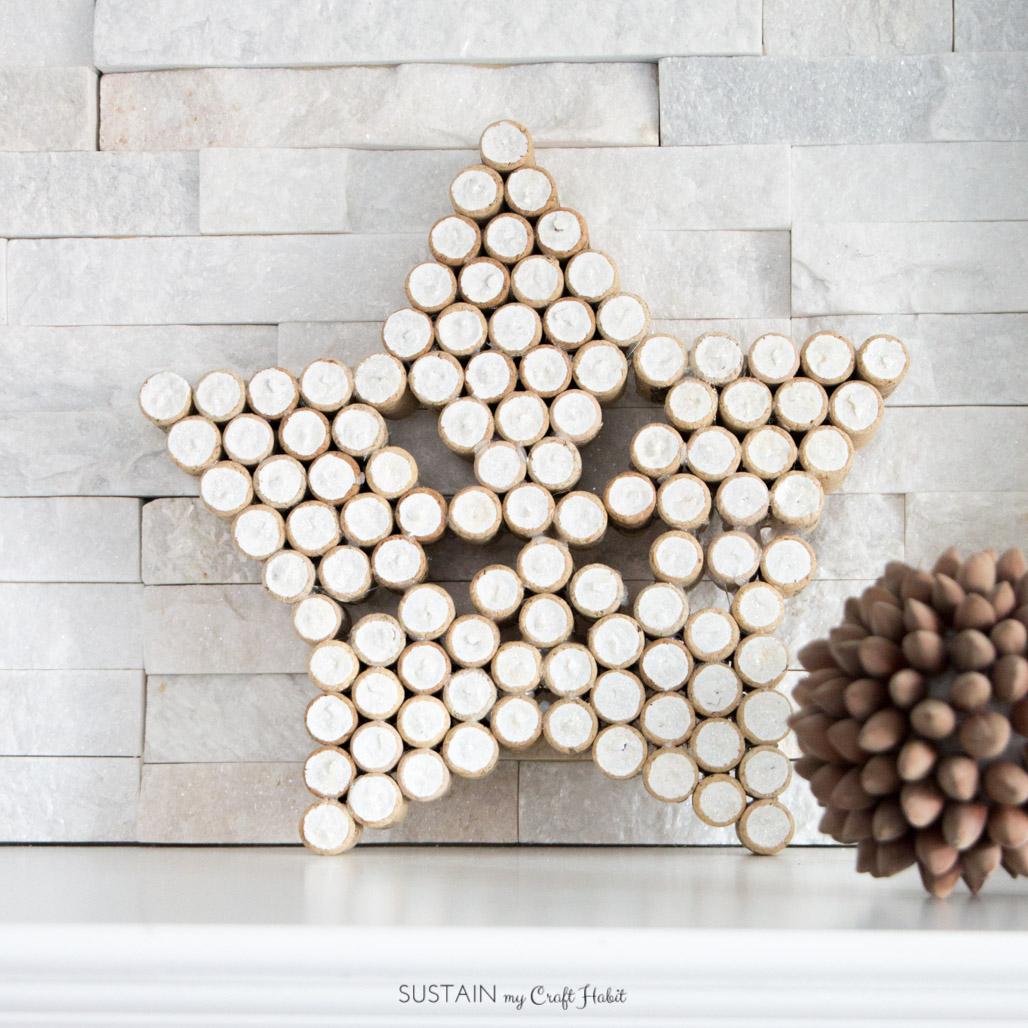 Wine cork crafts rustic sparkling star Christmas decoration