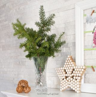 Foraged Winter Greens and Embossed Birch Slice Ornaments: Rustic Christmas Mantel Create-Along