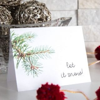 December's Free Winter Printable Greeting Card Template