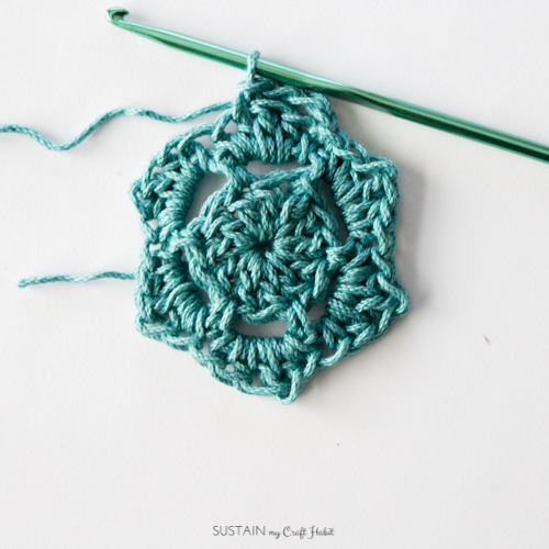 Starting the fourth round of the crochet coasters pattern