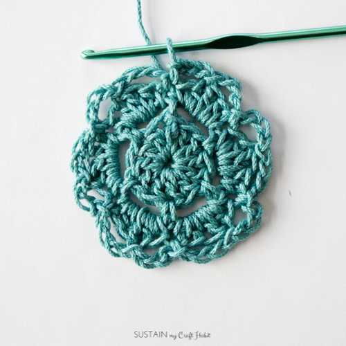 Finishing Round 4 of the free crochet coaster pattern for beginners