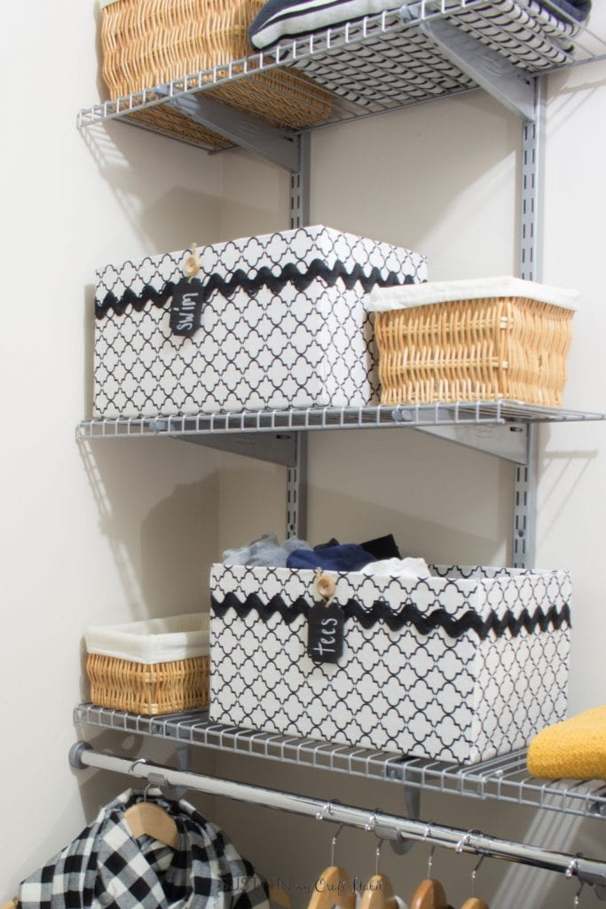 Get those closets organized for cheap with DIY fabric-covered storage boxes from cardboard