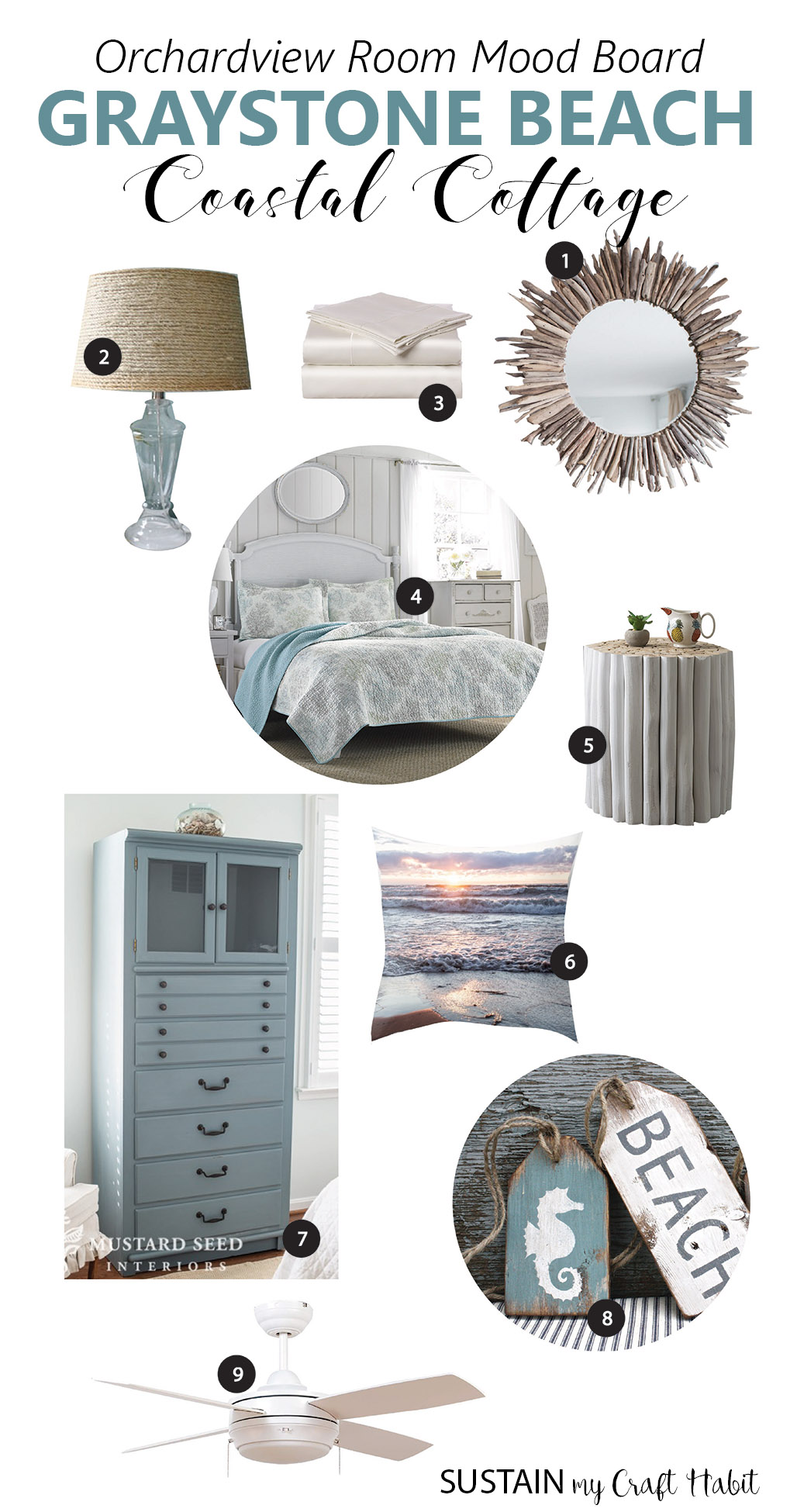 Design board for a beach themed bedroom. Inspiring coastal cottage bedroom decor ideas.